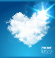 realistic cloud heart on beautiful blue sky vector image