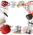realistic dishes colorful template vector image vector image