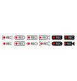 rec icon button record sign recording video vector image