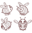 set cartoon outline cute bees isolated on white vector image
