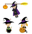 set of kids in halloween costumes isolated on vector image