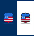 shield sign usa security icons flat and line vector image vector image