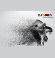 silhouette a baboon from particles vector image vector image