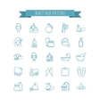 Spa and Beauty thin line icon set vector image