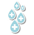 sticker design with medical cross sign or first vector image