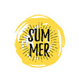 summer logo with doodle hand drawn sun background vector image vector image