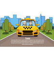 taxi service driver and woman passenger in yellow vector image vector image