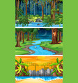 three different nature horizontal scenes vector image vector image