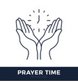 time to pray logo praying hands icon with clock vector image vector image