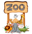 wild animals under the zoo sign vector image vector image