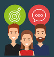 young people with social media icons vector image