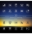 Set of distance learning icons vector image