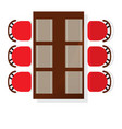 top view dining room interior with square table vector image
