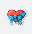 0390 sticker heart ribbon vector image