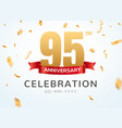 95 anniversary gold numbers with golden confetti vector image vector image