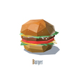 a hamburger polygonal object fast food vector image vector image