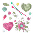 a set knitted clothes clew knitting needles vector image vector image