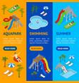 aqua park banner vecrtical set isometric view vector image vector image