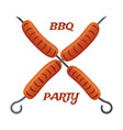 barbecue party fried sausages on skewers vector image vector image