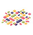 bundle of isometric colorful constructor details vector image