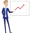 Business man pointing at chart vector image vector image