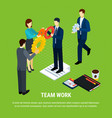 business teamwork isometric background vector image vector image