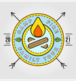 camp logo with campfire camping scout symbol vector image vector image