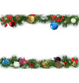 christmas background with decorated branches vector image