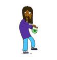 comic cartoon hippie man with bag of weed vector image