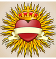 Crowned Heart with Banner and Rays vector image