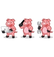 Deep Pink Pig Mascot with phone vector image vector image