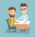 doctor consulting male patient in office vector image vector image