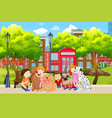 dog lover in the park vector image vector image