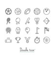doodle sports icons vector image