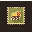 Field with a mill and wheat retro flat stamp vector image vector image
