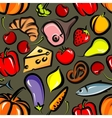 food background with vegetables fruit meat fish vector image