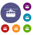 funicular icons set vector image vector image