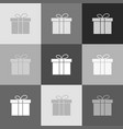 gift box sign grayscale version of popart vector image vector image