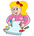 girl with crayons vector image