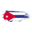 grunge brush stroke with cuba national flag vector image