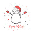 happy holiday cartoon with a snowman vector image vector image