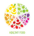 healthy food organic diet fruit circle cartoon vec vector image vector image