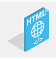 html file extension isometric icon vector image vector image