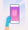 human hand using mobile app online data statistics vector image