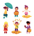 kids children having fun in fall autumn season vector image