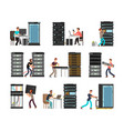 man engineer technician working in server room vector image vector image