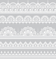 Mehndi Indian Henna tattoo seamless white pattern vector image