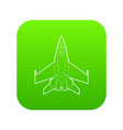 military jet icon green vector image vector image