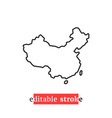 minimal editable stroke china map icon vector image vector image