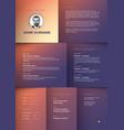 minimalist purple resume cv template vector image vector image